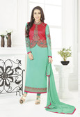 Incredibly Charming Sky Green Color Georgette Suit