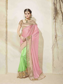 Bright & Graceful Light Pink & Light Parrot Colored Georgette Saree