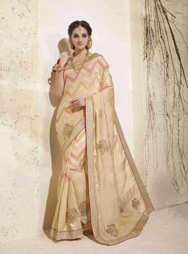 Bright & Graceful Beige Colored Georgette Saree