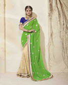 Bright & Graceful Green & Beige Colored Georgette Saree