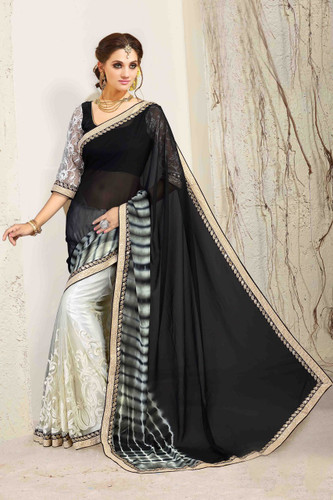 Bright & Graceful Black & Grey Colored Georgette Saree