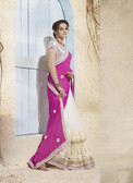 Bright & Graceful Purple & White Colored Georgette Saree