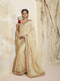 Bright & Graceful Off Yellow Colored Georgette Saree