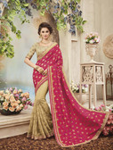 Delightfully Classy Pink & Beige Colored Two Tone Silk Saree