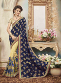 Delightfully Classy Blue & Beige Colored Silk & Viscose Saree