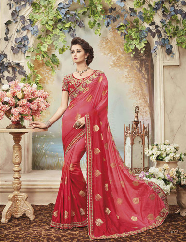 Delightfully Classy Royal Pink Colored Two Tone Silk Saree