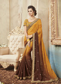 Delightfully Classy Yellow & Brown Colored Slub Georgette Saree