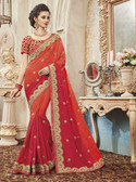 Delightfully Classy Orange Colored Silk Saree