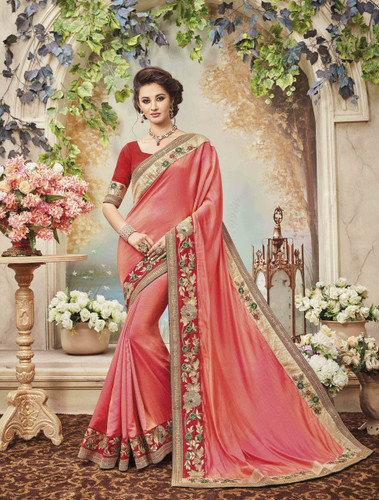 Delightfully Classy Light Pink Colored Two Tone Silk Saree