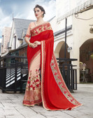 Vibrant & Elegant Red & White Colored Georgette Designer Embroidery Work Saree