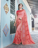 Vibrant & Elegant Peach Colored Georgette Designer Embroidery Work Saree