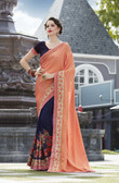 Vibrant & Elegant Orange & Navy Blue Colored Georgette Designer Embroidery Work Saree