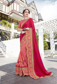 Vibrant & Elegant Pink & Orange Colored Georgette Designer Embroidery Work Saree