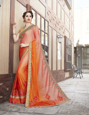 Vibrant & Elegant Orange Colored Georgette Designer Embroidery Work Saree