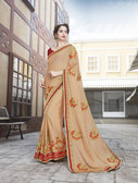 Vibrant & Elegant Light Pink Colored Georgette Designer Embroidery Work Saree