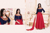 Stylish & Vibrant Blue & Red Colored Banarasi Silk with Malbury Suit