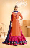 Vibrant & Casual Orange Colored Jam Silk Cotton Suit