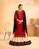 Vibrant & Casual Maroon Colored Jam Silk Cotton Designer Suit