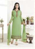 Elegant & Catchy Light Parrot Colored Georgette Suit