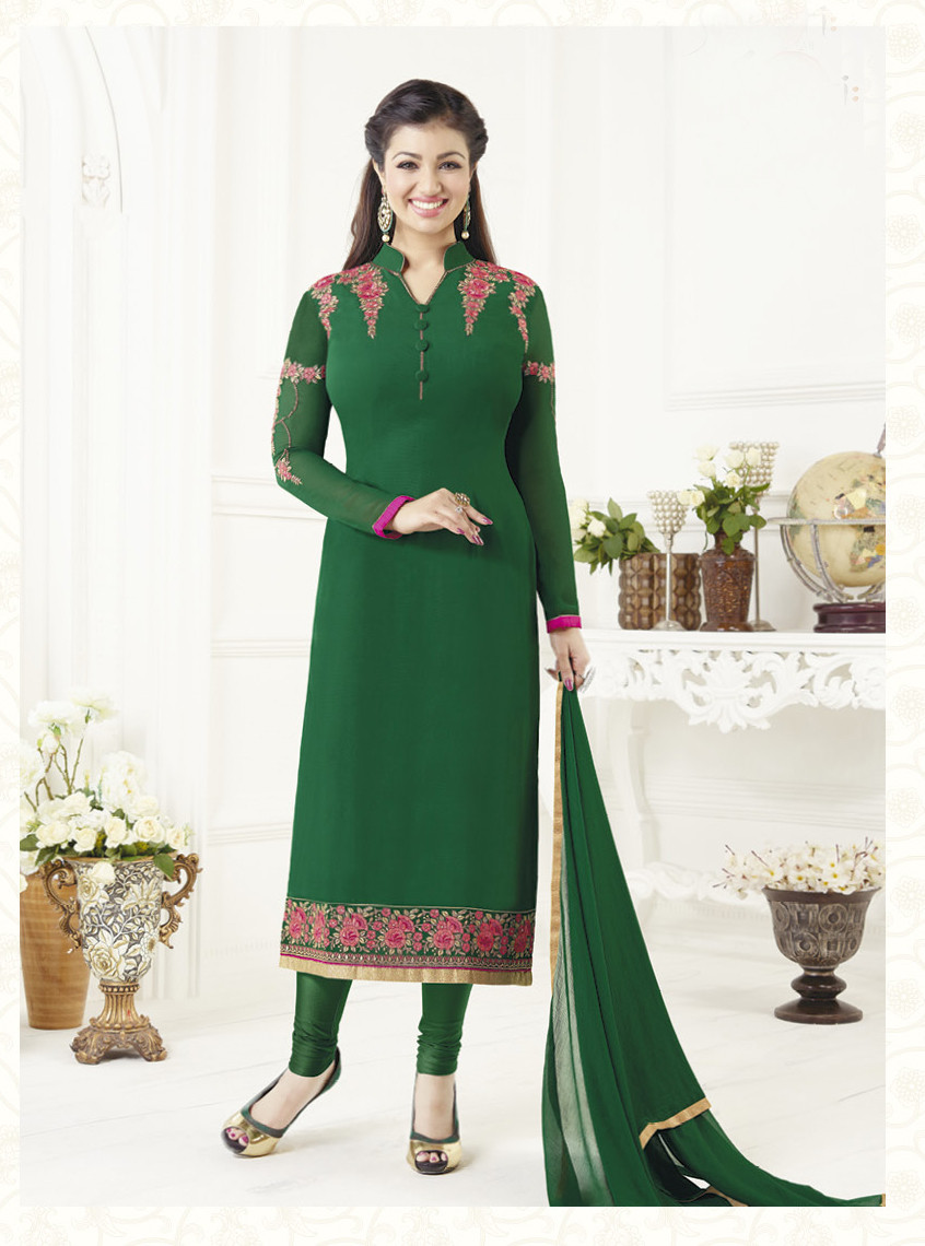 b97a7c35551 Elegant   Catchy Green Colored Georgette Suit - Fancy Stop