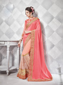 Gorgeous Alluring Light Pink Colored Chinnon Chiffon Designer Embroidery Work Saree