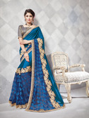 Gorgeous Alluring Blue Colored Net & Georgette Designer Embroidery Work Saree
