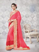 Gorgeous Alluring Pink Colored Georgette Designer Embroidery Work Saree