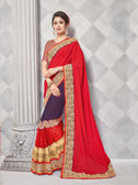Gorgeous Alluring Red & Blue Colored Georgette & Chiffon Designer Embroidery Work Saree