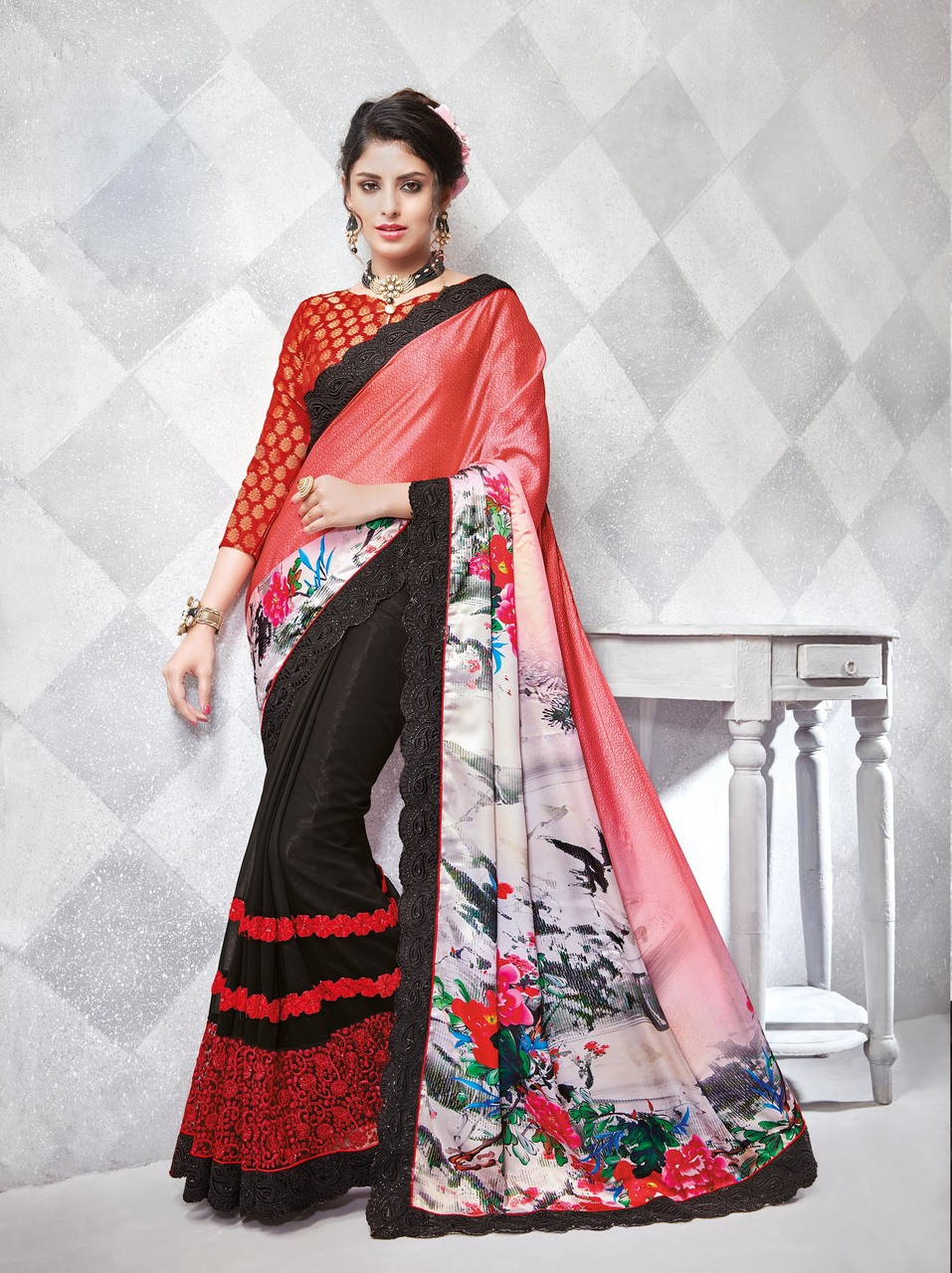 Gorgeous Alluring Red Black Colored Crepe Silk Georgette