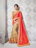 Gorgeous Alluring Orange & Beige Colored Crepe & Georgette Designer Embroidery Work Saree