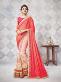 Gorgeous Alluring Pink Colored Crepe & Georgette Designer Embroidery Work Saree