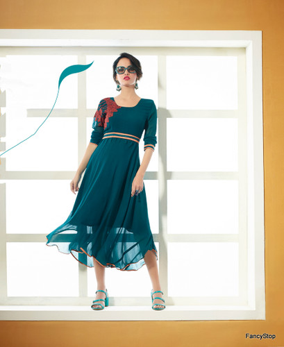 Blue Color Pure Bamberg Georgette Kurti Dress