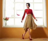Beige & Red Color Pure Bamberg Georgette Kurti Dress
