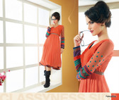 Orange Color Pure Bamberg Georgette Kurti Dress