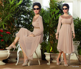 Beige Color Pure Bamberg Georgette Kurti Dress