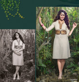 Elegant Fusion Off White color Lilen Kurti