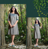 Elegant Fusion Grey color Lilen Kurti