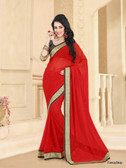 Beautifully Casual Red Color Pure Georgette Saree