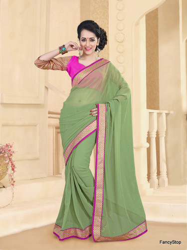 Beautifully Casual Sea Green Color Pure Georgette Saree