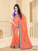 Beautifully Casual Orange Color Pure Georgette Saree