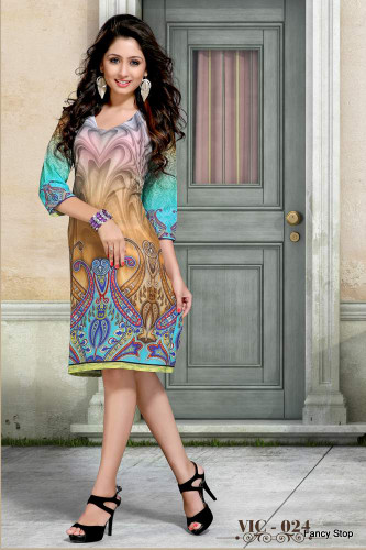 Colorful & Trendy Sky Blue & Beige Color Cotton Kurti
