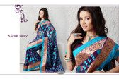 Cocktail Party Designer Saree Purple Bright Blue Dots
