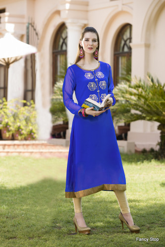 Beautiful & Elegant Blue Color Georgette Kurti