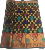 Beautiful Multi-color Kora Butti Cotton Silk Saree With Black Base