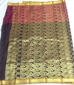 Beautiful Black & Maroon Color Pure South Silk Saree With Golden Border