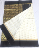 Premium Garad Katan White & Black Silk Saree