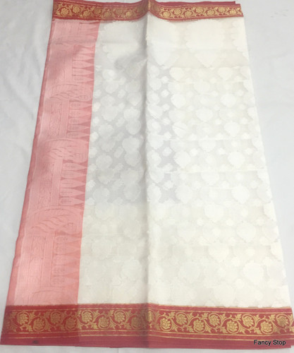 Beautiful Red & White Dry Resham Saree With Contrast Border