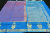 Exquisite Kanchipuram Handweaved Purple and Blue Silk Jaquard with embossed body