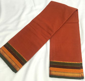 Elegant Rust Color South Cotton Saree With Multi Color Wide Border