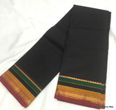 Elegant Black Color South Cotton Saree With Multi Color Wide Border